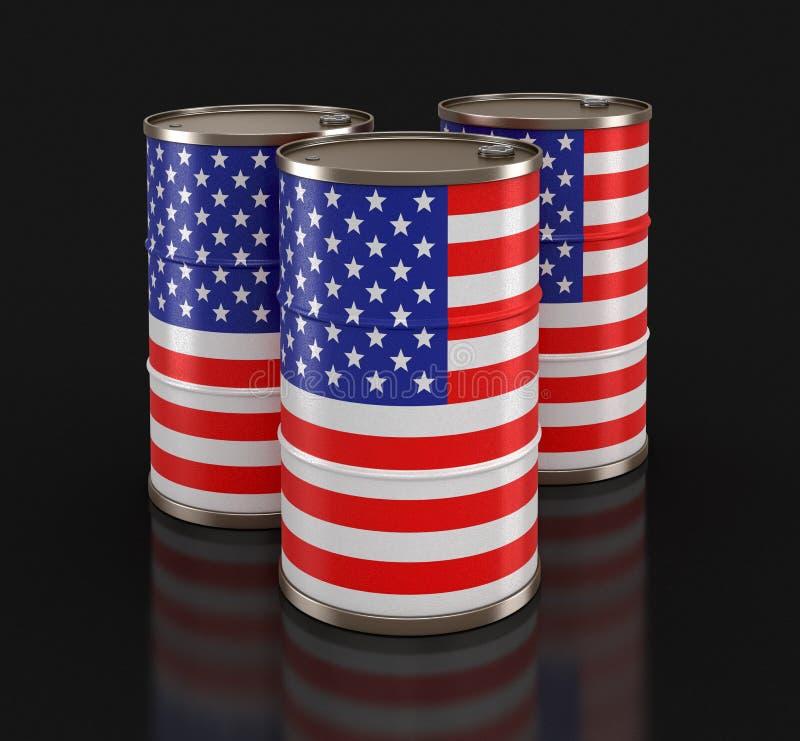 Tambor de óleo com a bandeira dos EUA ilustração stock