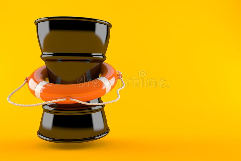 Tambor de óleo com boia de vida ilustração do vetor