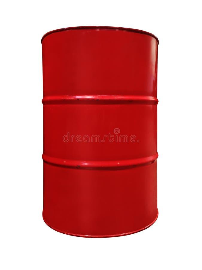 Tambor de óleo do metal da cor vermelha, isolado no fundo branco Cilindro de óleo vermelho do metal isolado no fundo branco Enegr fotografia de stock
