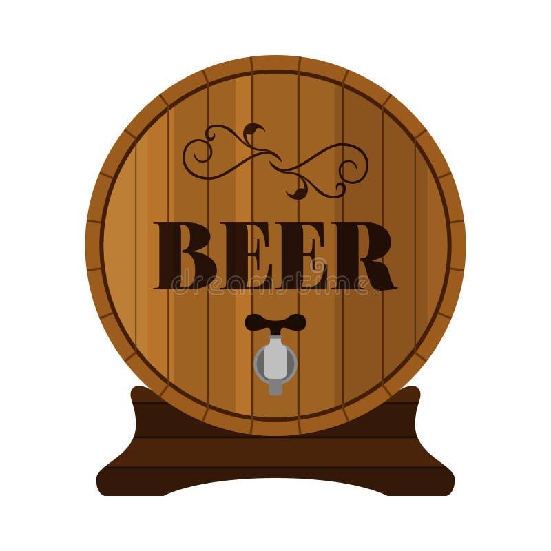 Tambor de cerveja Bebida do álcool no projeto liso do estilo Ilustração do vetor ilustração royalty free