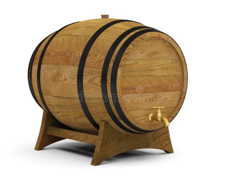 Tambor de cerveja de madeira do álcool dos tambores de vinho ilustração stock