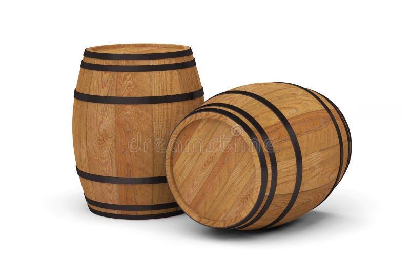 Tambor de cerveja de madeira do álcool dos tambores de vinho ilustração royalty free
