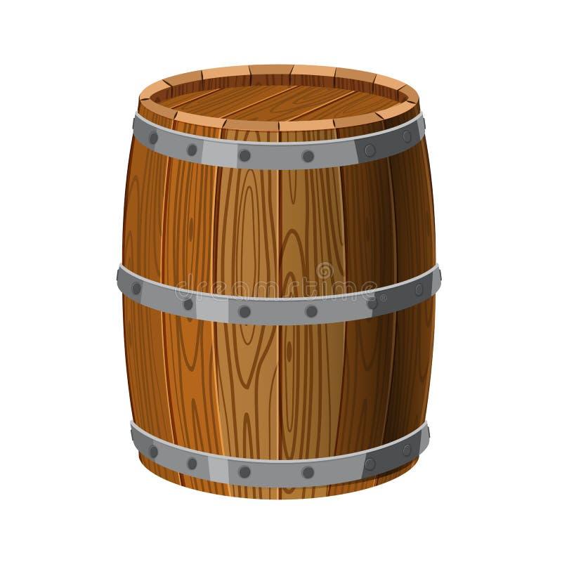 Tambor de madeira com listras do metal, para o álcool, o vinho, o rum, a cerveja e as outras bebidas, ou os tesouros, pólvora iso ilustração stock
