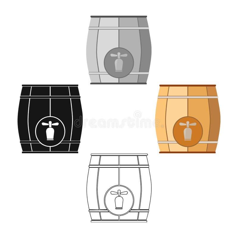 Tambor de madeira com um ícone da torneira nos desenhos animados, estilo preto isolados no fundo branco Ilustra??o do vetor do es ilustração royalty free