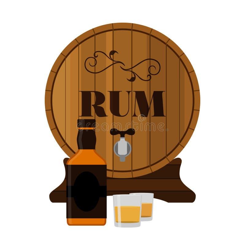 Tambor de madeira do rum com garrafa e tiros no estilo liso ilustração do vetor