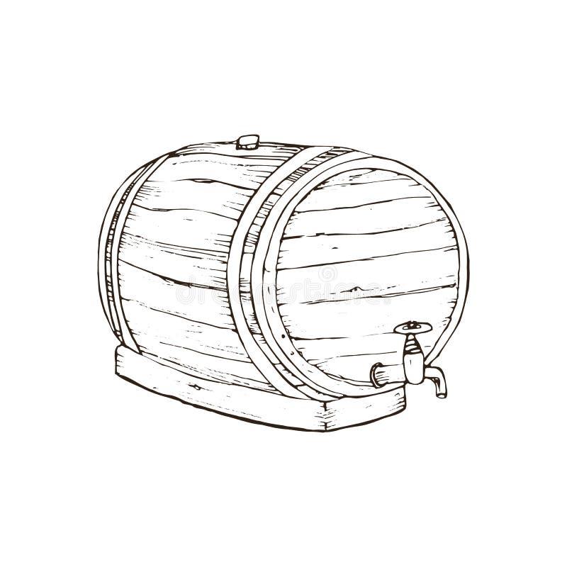 Tambor de madeira do vetor ilustração do vetor