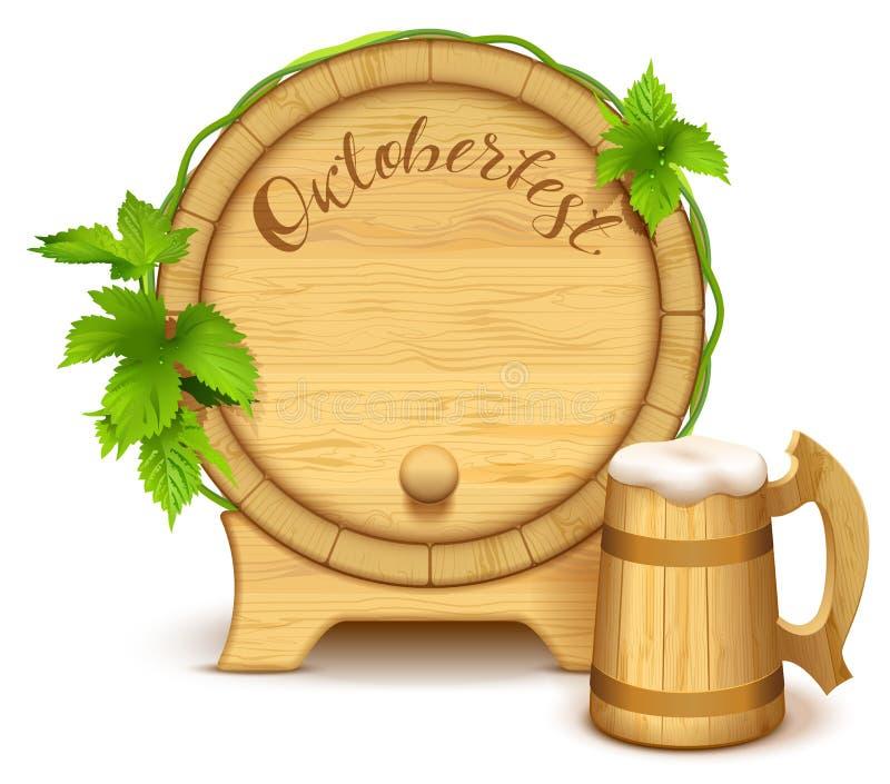 Tambor de madeira e caneca de cerveja de madeira completa Texto escrito à mão de Oktoberfest ilustração royalty free
