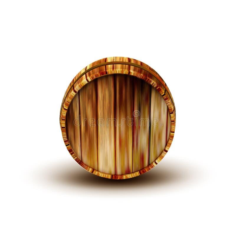 Tambor de madeira Front View Vetora do carvalho de Brown da adega ilustração royalty free