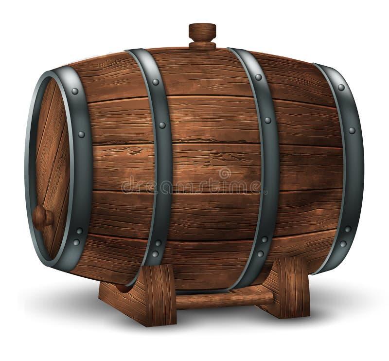 Tambor de madeira para o vinho ou as outras bebidas, enchido com anéis do ferro em um fundo branco vetor 3d A eleva??o detalhou r ilustração stock