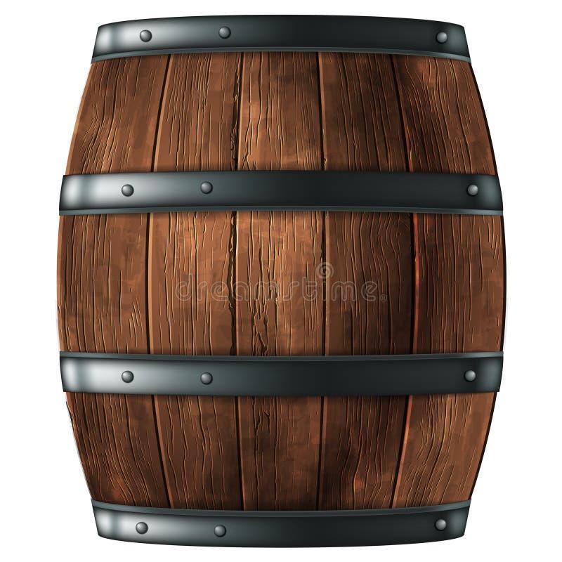 Tambor de madeira para o vinho ou as outras bebidas, enchido com anéis do ferro em um fundo branco vetor 3d A eleva??o detalhou r ilustração royalty free