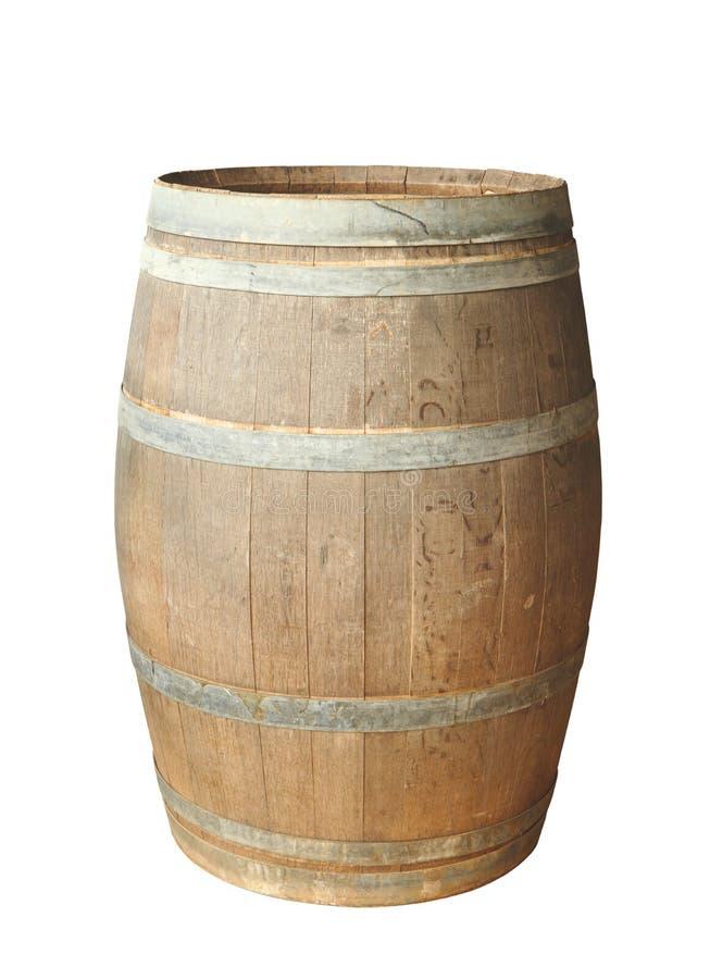 Tambor de madeira velho isolado imagem de stock