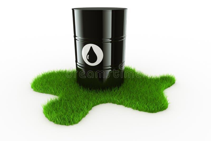 Tambor de petróleo con la hierba ilustración del vector