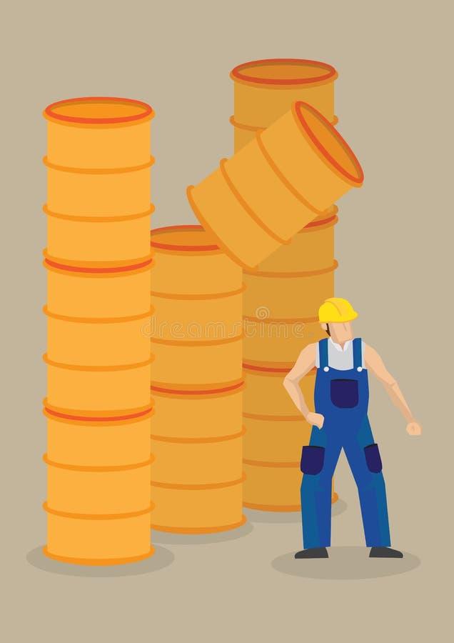 Tambor de queda na ilustração do vetor do acidente de local de trabalho do trabalhador ilustração royalty free