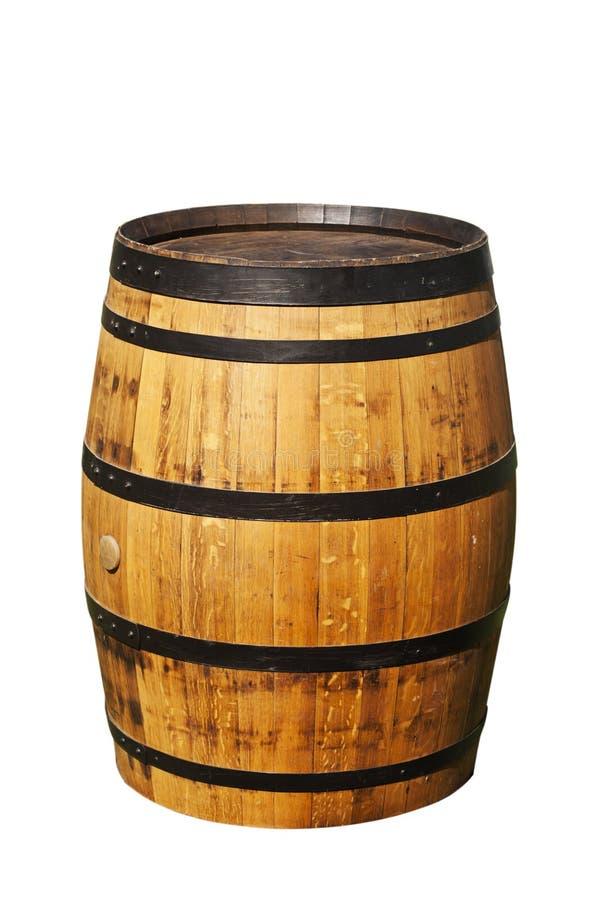 Tambor de vinho do carvalho no branco fotografia de stock