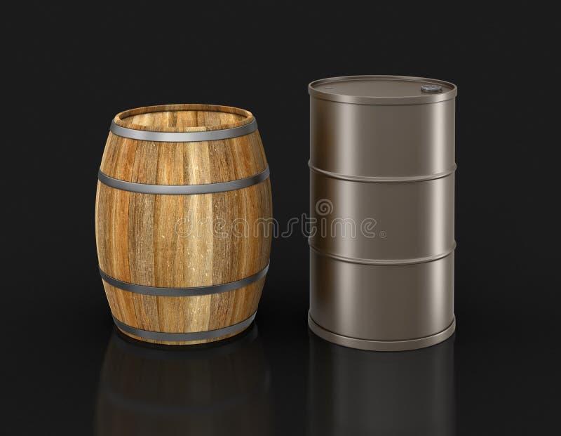 Tambor de vinho e cilindro de aço (trajeto de grampeamento incluído) ilustração royalty free