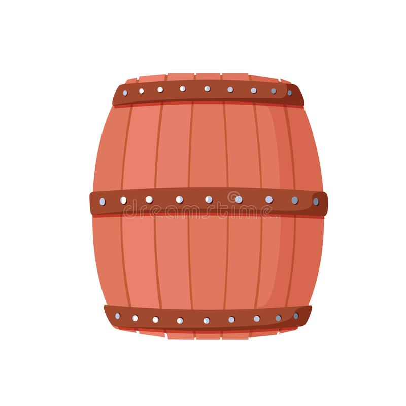 Tambor do álcool, recipiente de bebida, ícone de madeira do barril isolado no whi ilustração do vetor