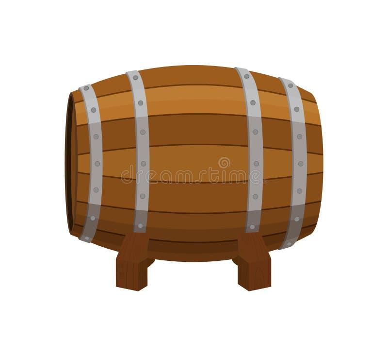 Tambor do álcool, recipiente de bebida, barril de madeira Estilo liso dos desenhos animados Vetor ilustração do vetor