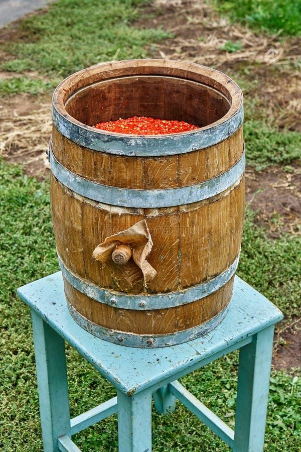 Tambor do carvalho Tambor de madeira aberto enchido com o pimento moído Produção do molho picante imagens de stock royalty free
