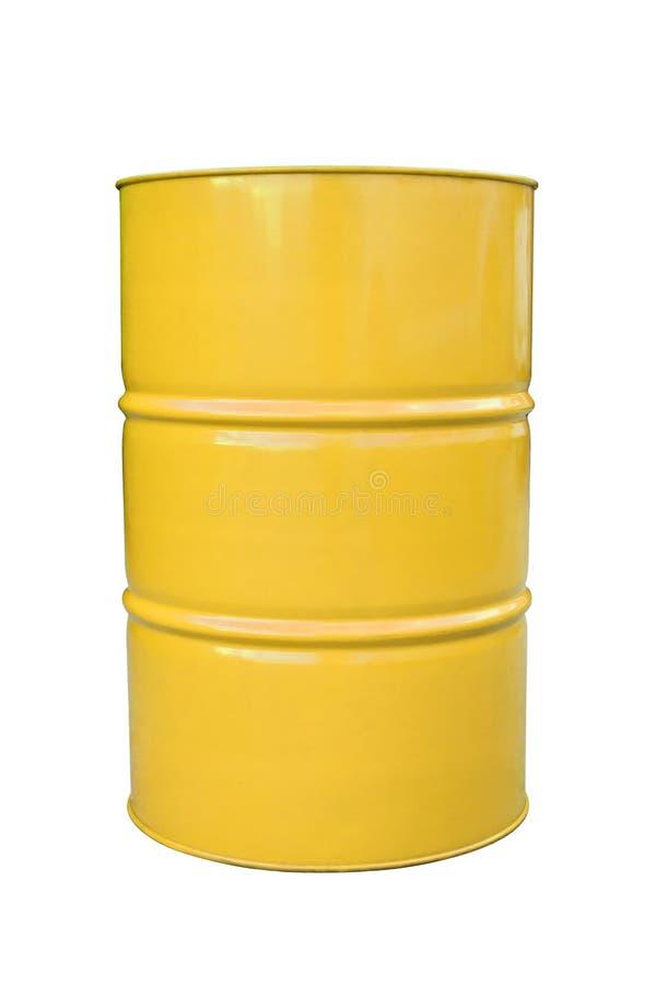 Tambor do metal amarelo isolado no branco foto de stock royalty free