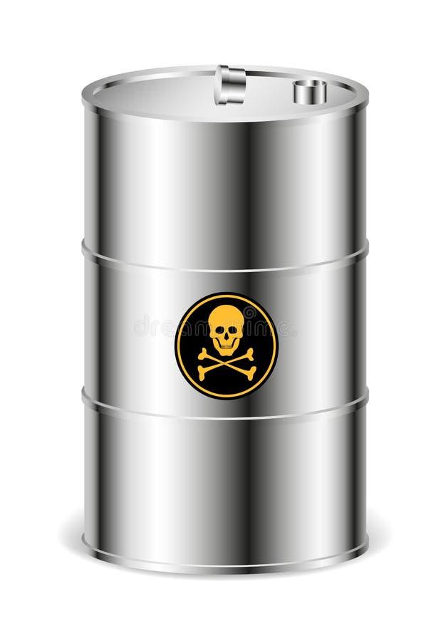 Tambor do metal com sinal de aviso ilustração royalty free