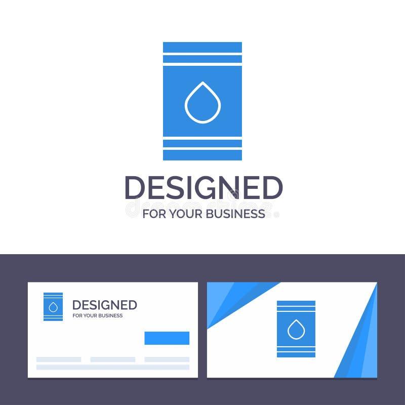 Tambor do molde criativo do cartão e do logotipo, óleo, combustível, flamable, ilustração do vetor de Eco ilustração royalty free