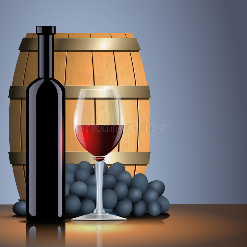 Tambor do vinho tinto, da garrafa, o de vidro e o velho ilustração royalty free