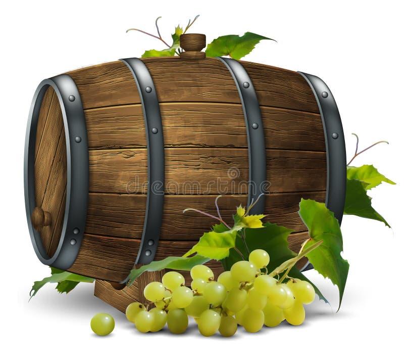 Tambor e videira de madeira de vinho com um grupo de uvas ilustração royalty free