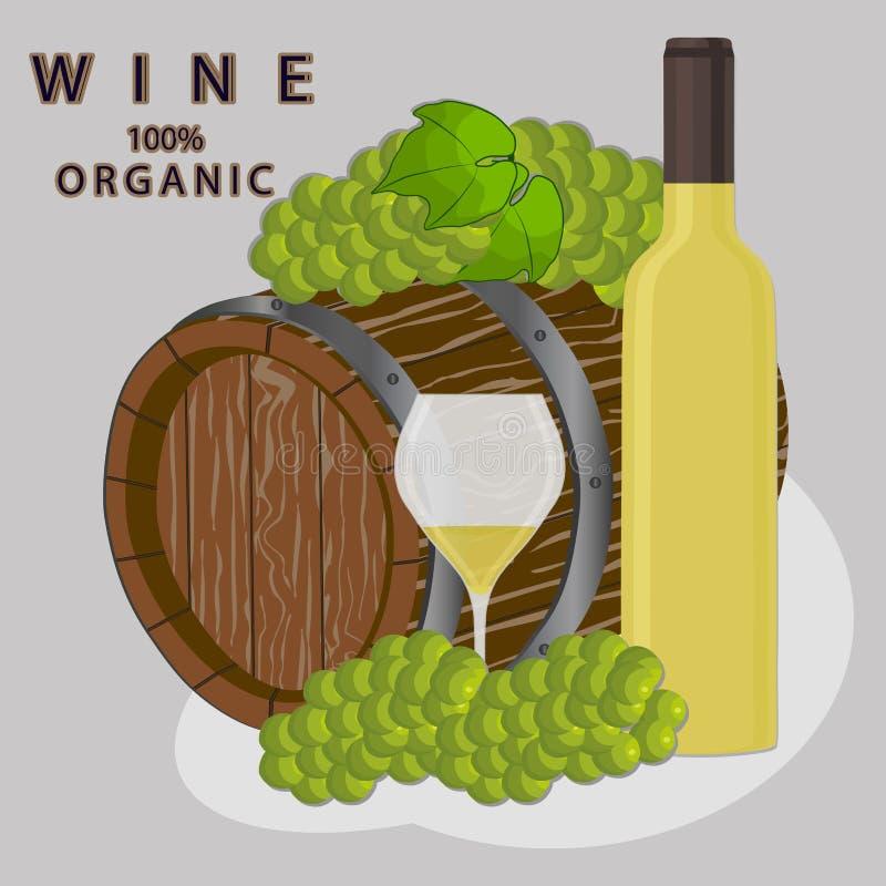 Tambor enchido com o vinho ilustração stock