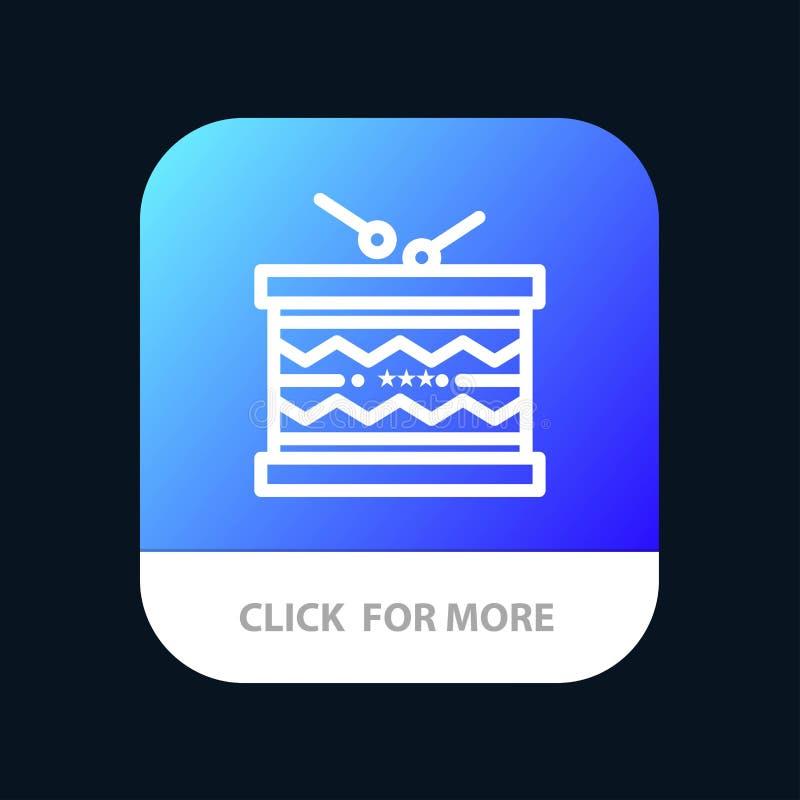 Tambor, instrumento, irlandés, desfile, St Patrick Mobile App Button Android y línea versión del IOS ilustración del vector