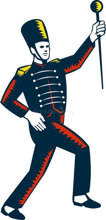 Tambor Major Marching Band Leader Woodcut libre illustration