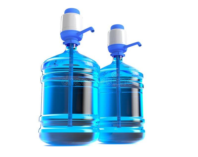 Tambor plástico grande, garrafa do galão com um punho para o refrigerador de água do escritório 3D rendem, isolado no fundo branc ilustração royalty free