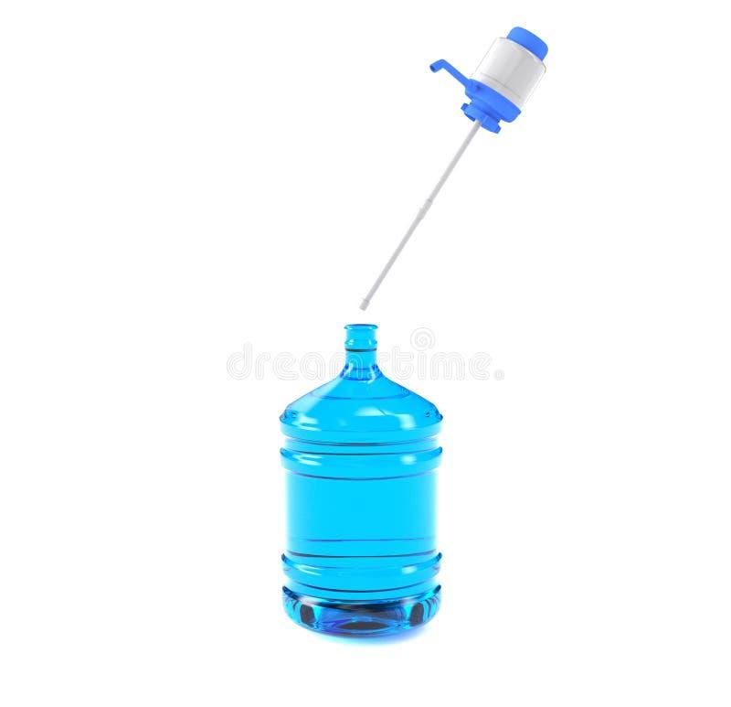 Tambor plástico grande, garrafa do galão com um punho para o refrigerador de água do escritório 3D rendem, isolado no fundo branc ilustração stock
