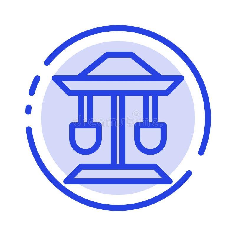 Tambor, pozo, ley, línea de puntos azul línea icono de la balanza libre illustration
