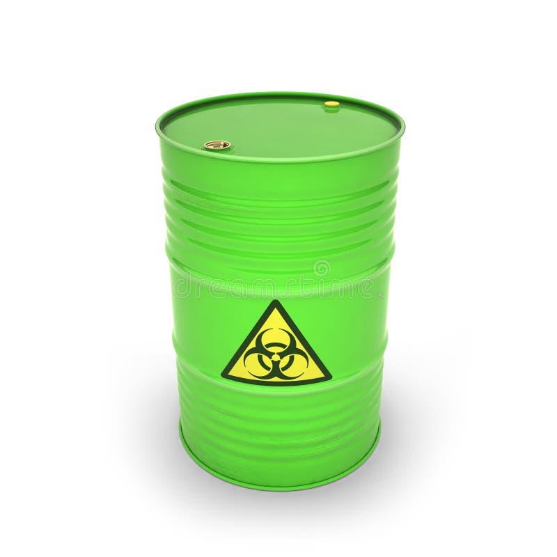 Tambor verde com materiais tóxicos ilustração do vetor