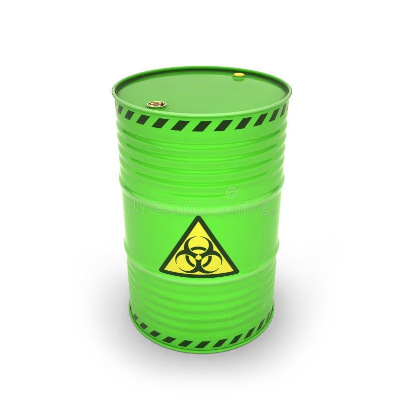 Tambor verde com materiais tóxicos ilustração royalty free