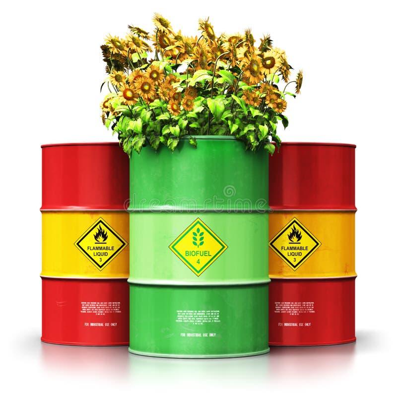 Tambor verde del combustible biológico con los girasoles delante de vagos rojos del aceite o del gas ilustración del vector