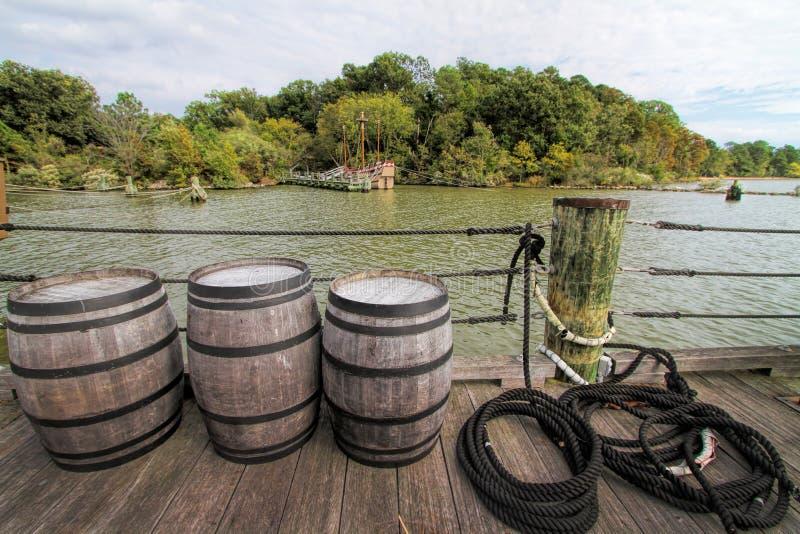 Tambores da doca e do uísque do pagamento de Jamestown imagem de stock