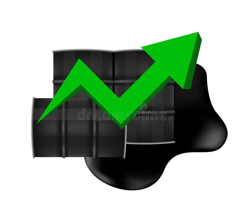 Tambores de óleo bruto com apontar acima da seta do verde do símbolo do gráfico isolada no fundo branco, no tambor preto do me ilustração stock