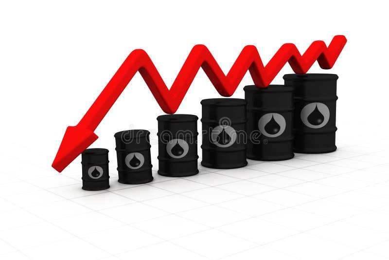 Tambores de óleo com seta para baixo ilustração stock