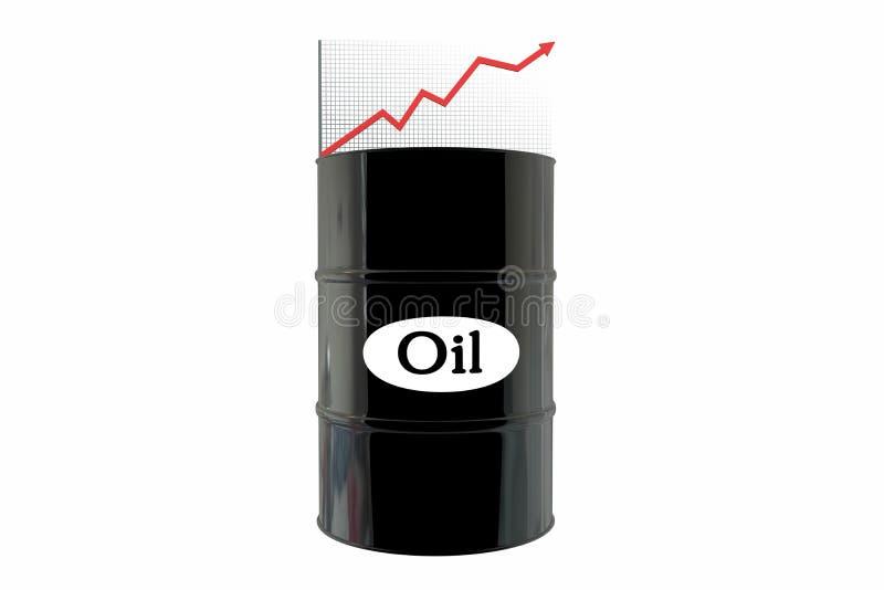Tambores de óleo e uma carta financeira no fundo branco óleo do preço acima Conceito do negócio ilustração do vetor