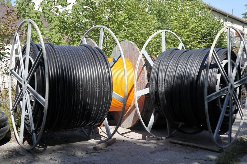 Tambores de cable fotografía de archivo