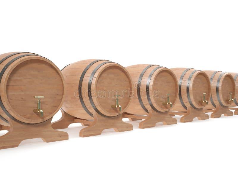 Tambores de madeira para bebidas alcoólicas da cerveja, vinho foto de stock