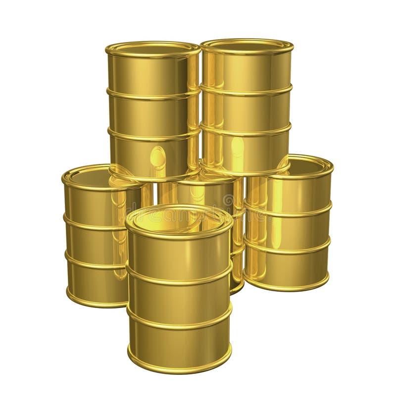 Tambores de petróleo do ouro ilustração do vetor