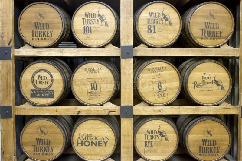 Tambores de Turquia selvagem Bourbon na destilaria fotografia de stock