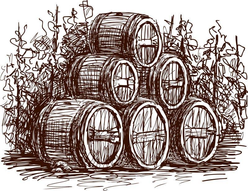 Tambores de vinho ilustração royalty free