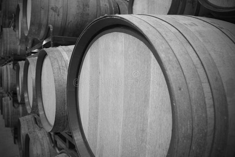 Tambores de vinho em uma adega do envelhecimento fotografia de stock