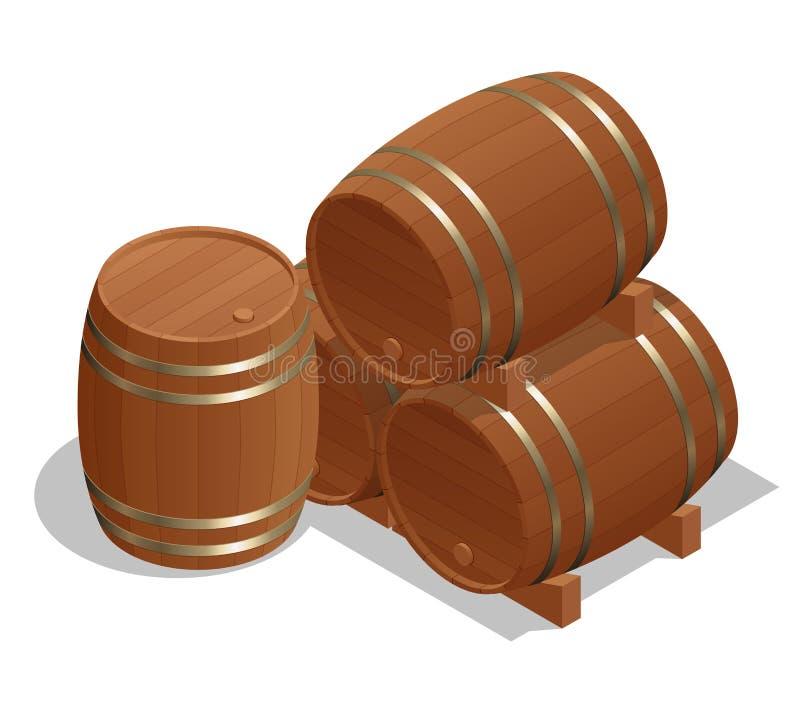 Tambores de vinho isométricos no fundo branco Madeira do tambor da ilustração do vetor ilustração royalty free