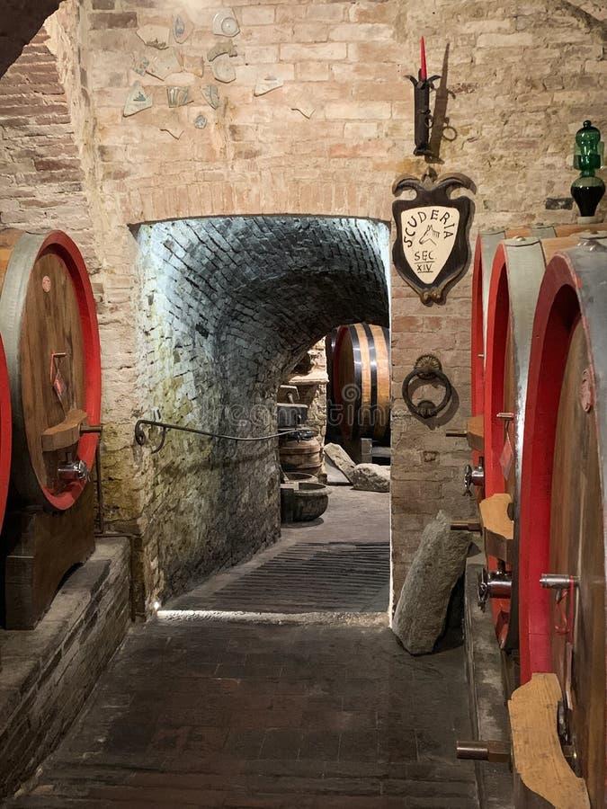 Tambores do carvalho em uma adega de vinho subterr?nea velha foto de stock royalty free
