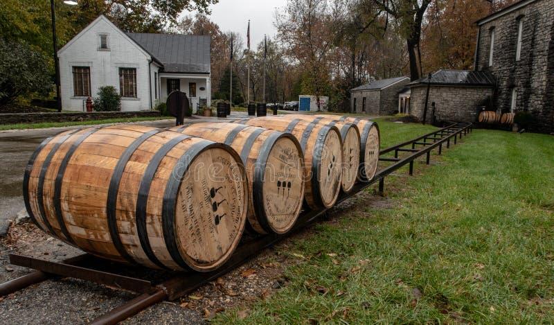 Tambores do carvalho usados em fazer o uísque de Bourbon fotos de stock royalty free