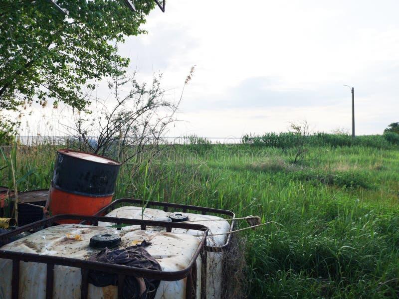 Tambores do desperd?cio industrial perto da ?rvore e dos juncos verdes O conceito da polui??o da natureza e do armazenamento de p foto de stock